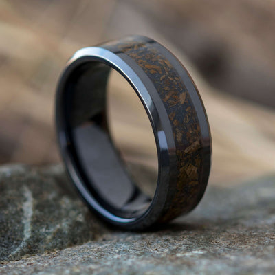 Black Ceramic Wedding Band With Crushed Dinosaur Bone Inlay-SIG3027 - Jewelry by Johan