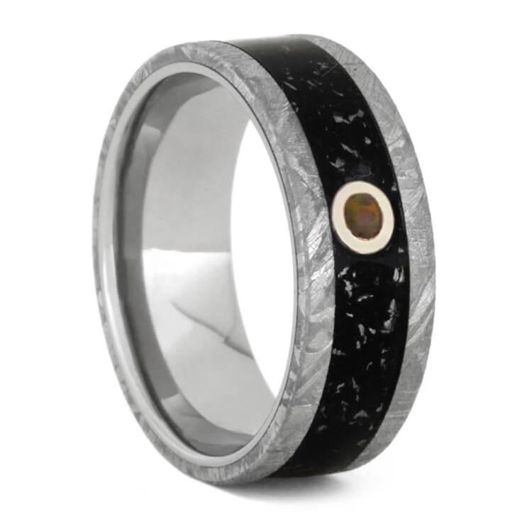 Opal Wedding Ring With Black Stardust™ And Meteorite Edges-3296 - Jewelry by Johan