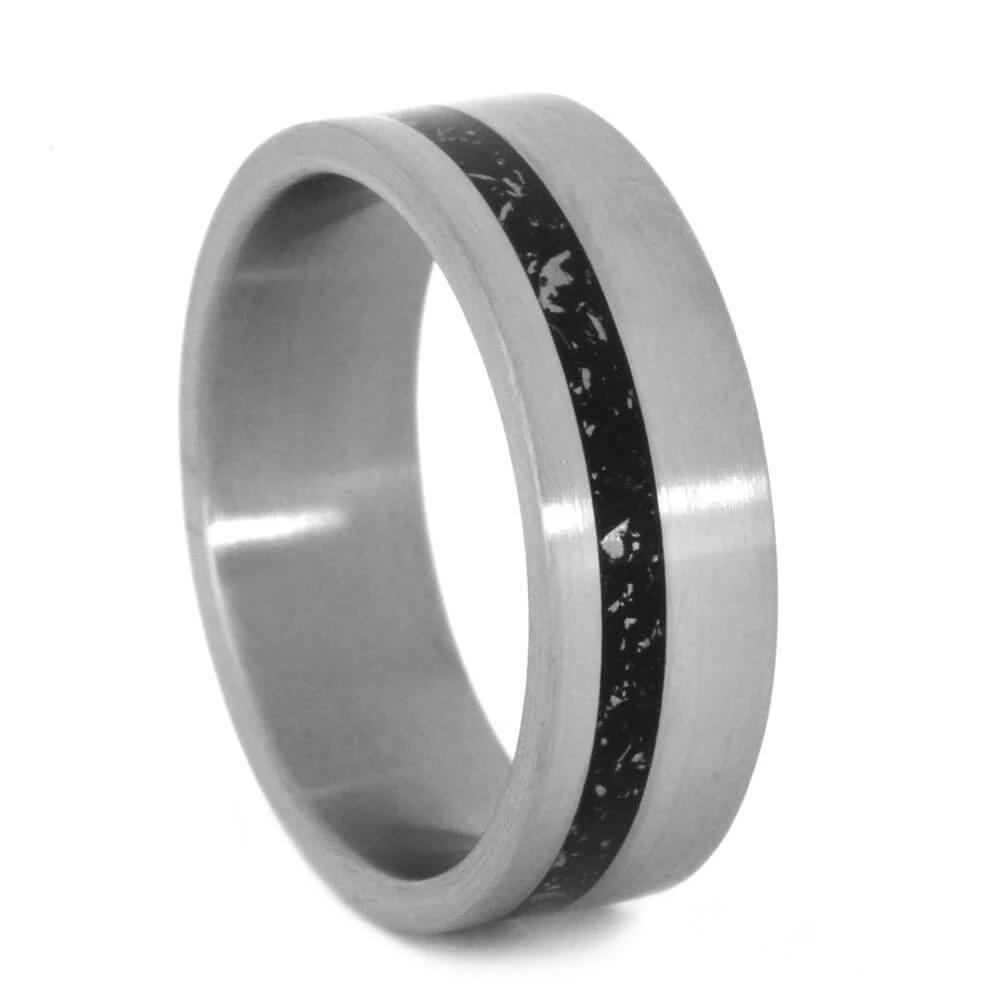 Black Stardust™ Men's Wedding Band In Brushed Titanium-2787 - Jewelry by Johan