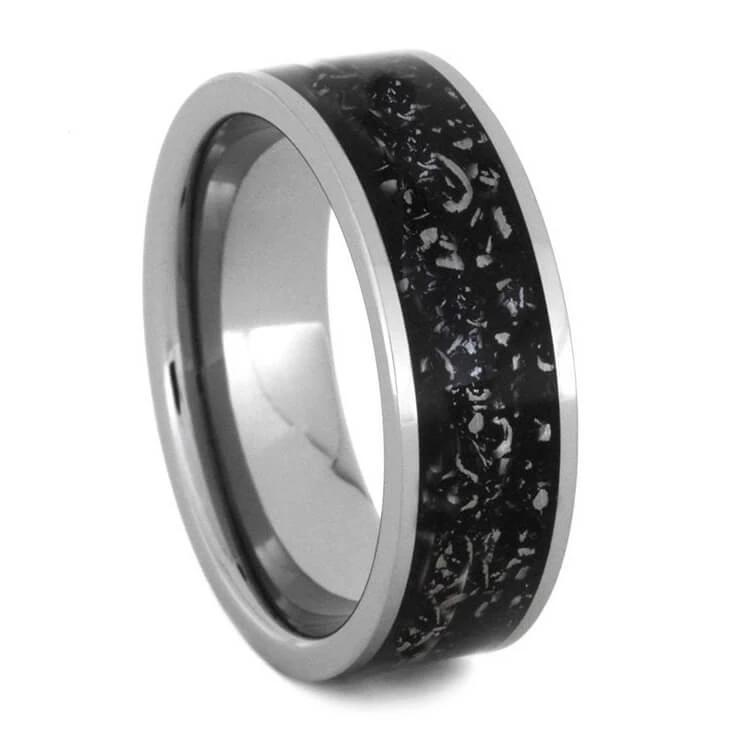 Men's Black Stardust™ Wedding Band In Titanium-2302 - Jewelry by Johan