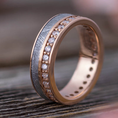 Gibeon Meteorite Eternity Ring, Diamond Unisex Wedding Band in Rose Gold-DJ1012RG - Jewelry by Johan