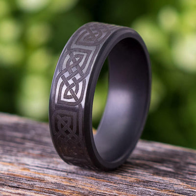 Elysium Ring with Celtic Knot Engraving, Black Ring by Lashbrook Designs - ERPL8 - Jewelry by Johan