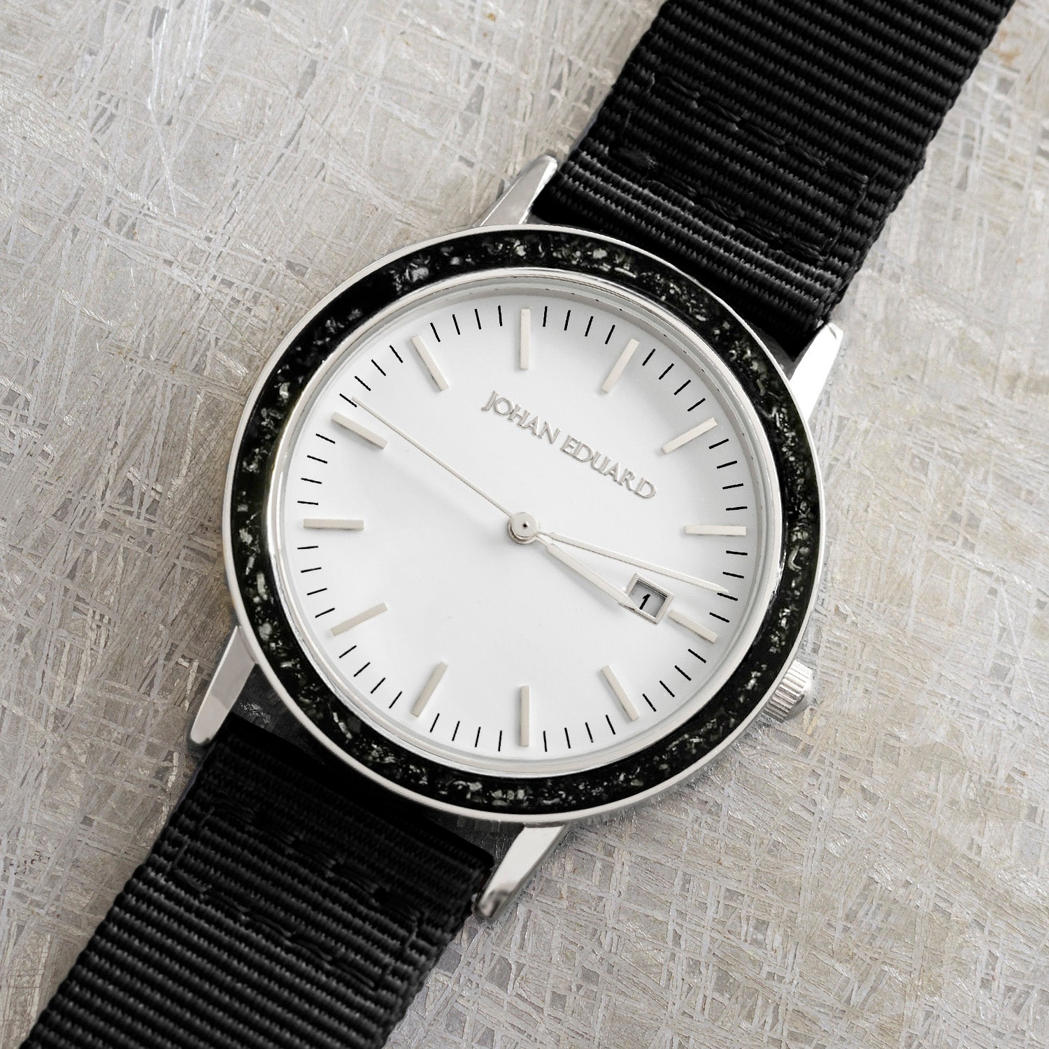 Black Stardust Meteorite Watch With Silver Metal And Black Nylon Strap