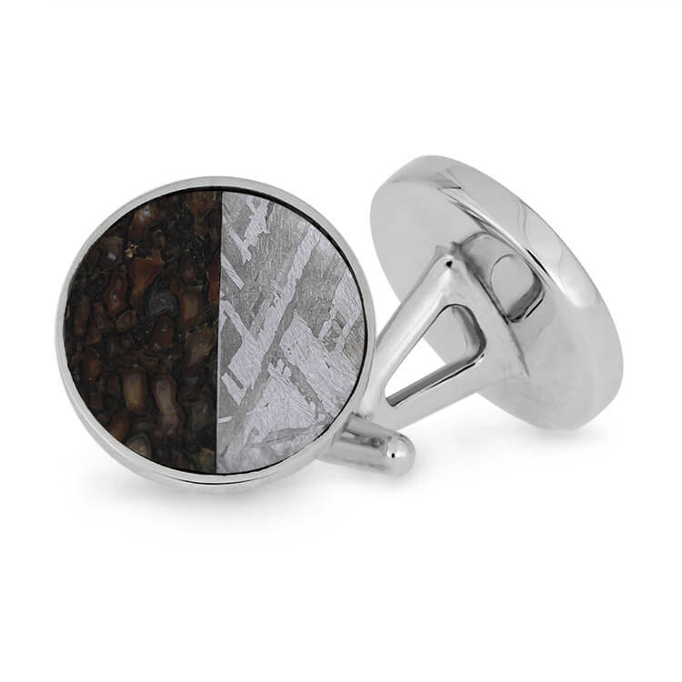 Round Meteorite and Dinosaur Bone Cuff Links, Made to Order-4100 - Jewelry by Johan