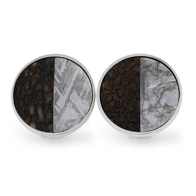 Dinosaur Bone Meteorite Cuff Links Made With Sterling Silver