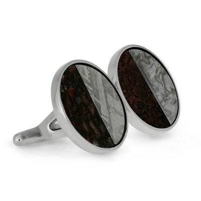 Dinosaur Bone and Meteorite Cuff Links, In Stock-SIG3046 - Jewelry by Johan
