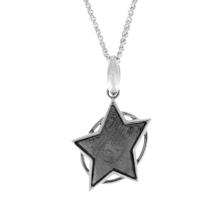 "30"" Star Necklace With Meteorite, Sterling Silver Rope Chain With Muonionalusta Meteorite"