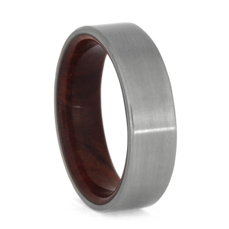 Ruby Redwood Wedding Band With Matte Titanium