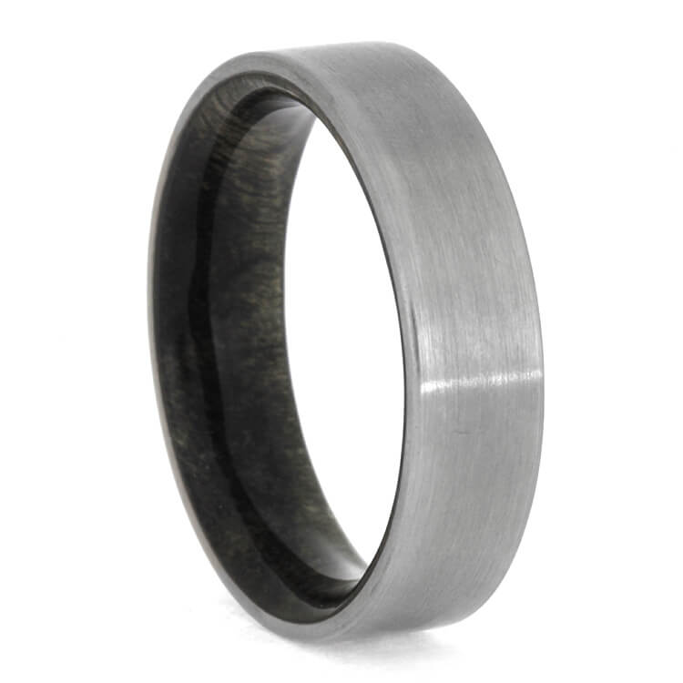 Brushed Titanium Ring With Buckeye Burl Wood Inside, Size 9.25-RS10363 - Jewelry by Johan