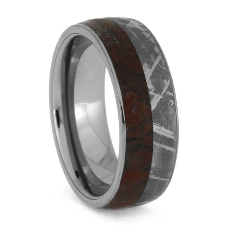 Dinosaur Bone and Meteorite Wedding Band In Tungsten, Size 9.75-RS10367 - Jewelry by Johan