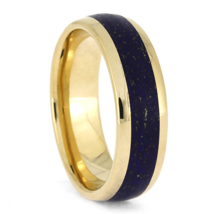 Lapis Lazuli Men's Wedding Band In Polished Yellow Gold, Size 11-RS10369 - Jewelry by Johan