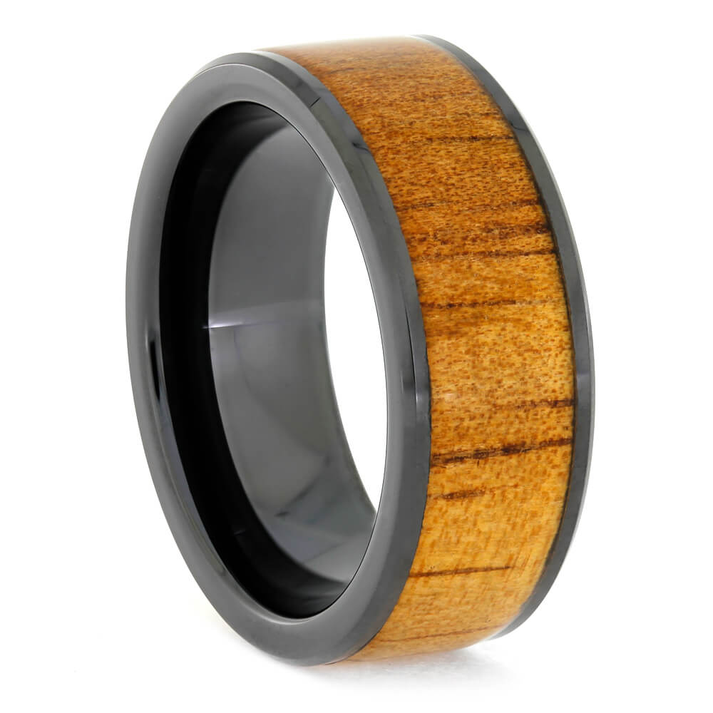 Black Ceramic Wedding Band with Koa Wood, Size 8-RS10862 - Jewelry by Johan
