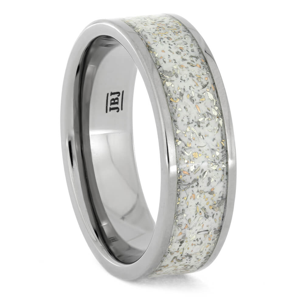 White Stardust™ Ring With Gold Flakes In Titanium, Size 10-RS10894 - Jewelry by Johan