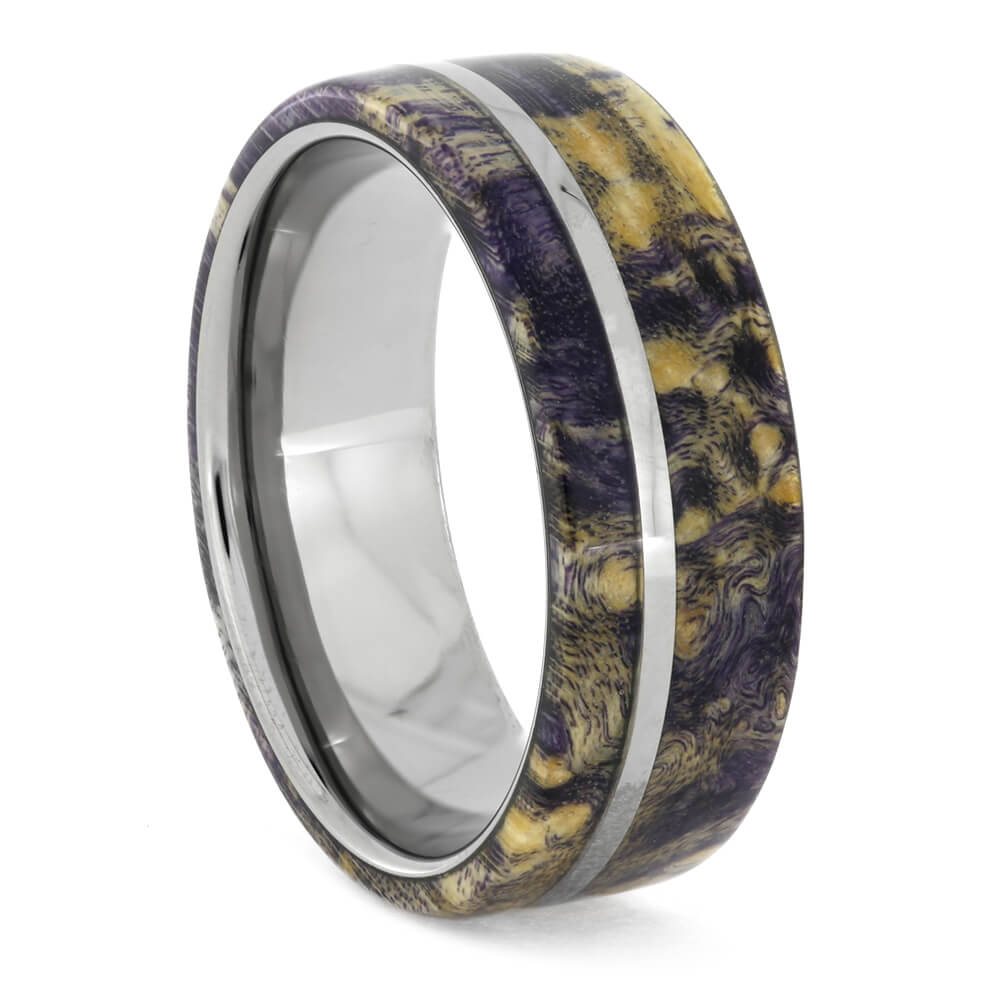 Purple Box Elder Burl Wedding Band, Wood Ring, Size 7-RS10895 - Jewelry by Johan