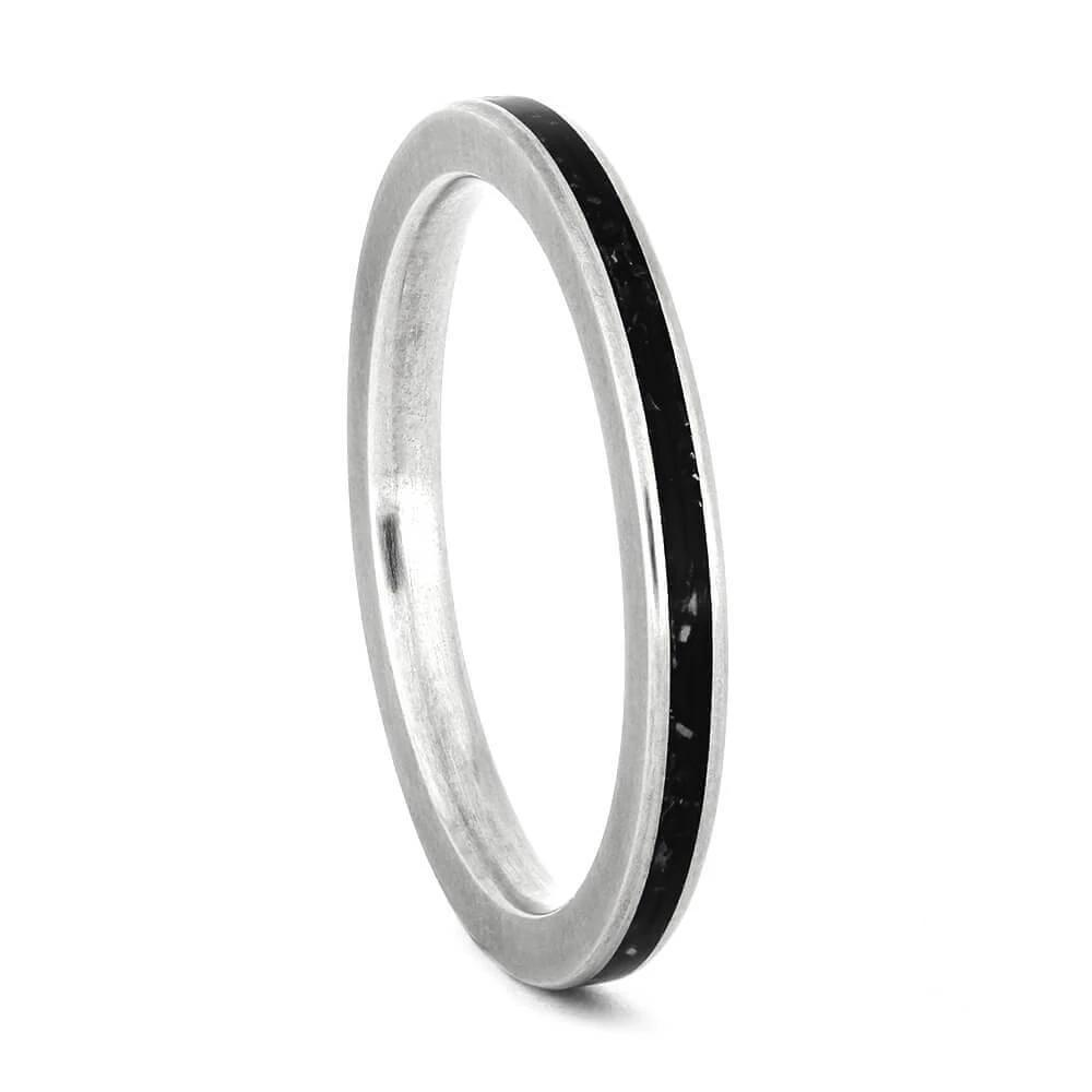 Womens Silver Wedding Band with Black Stardust™, Size 7-RS10936 - Jewelry by Johan