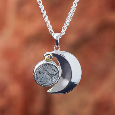 Moon Necklace with Meteorite and Moladavite