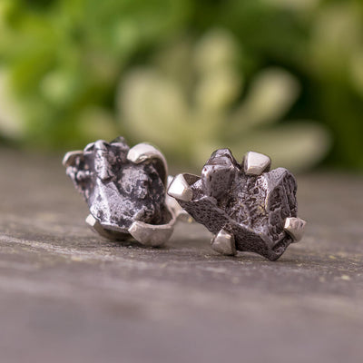 Authentic Meteorite Nugget Stud Earrings, In Stock-RSSB39 - Jewelry by Johan