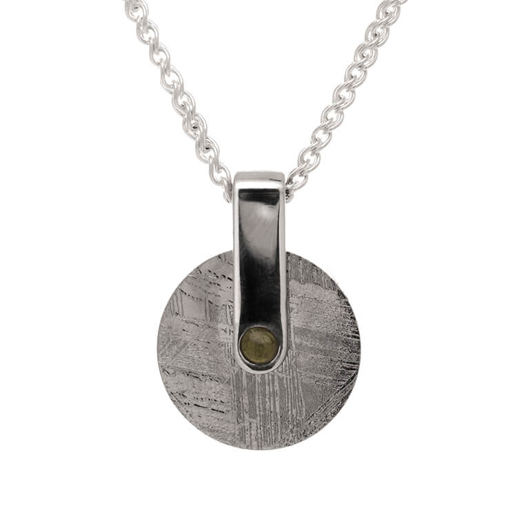 "30"" Meteorite Wheel Necklace with Moldavite Hub And Silver Chain-RSSB4426 - Jewelry by Johan"