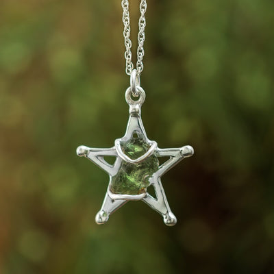 "18"" Meteorite Star Necklace, Green Moldavite Necklace in Sterling Silver-RSSB79 - Jewelry by Johan"