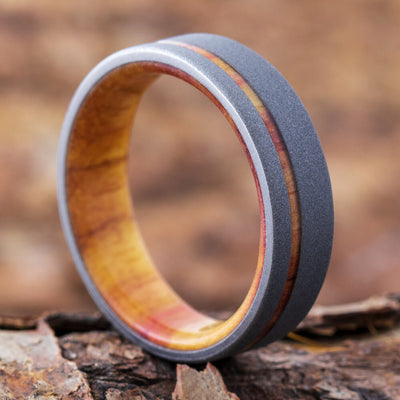 Thin Wedding Band, Sandblasted Titanium Ring With Tulipwood