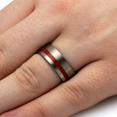 Bloodwood Ring In Matte Titanium Band-SIG3005 - Jewelry by Johan