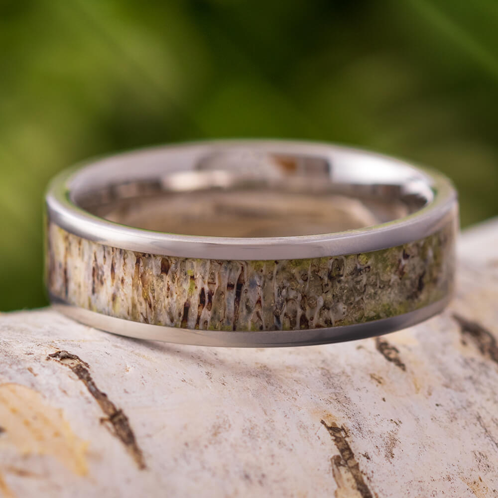 6mm Titanium Deer Antler Wedding Band, In Stock-SIG3007 - Jewelry by Johan