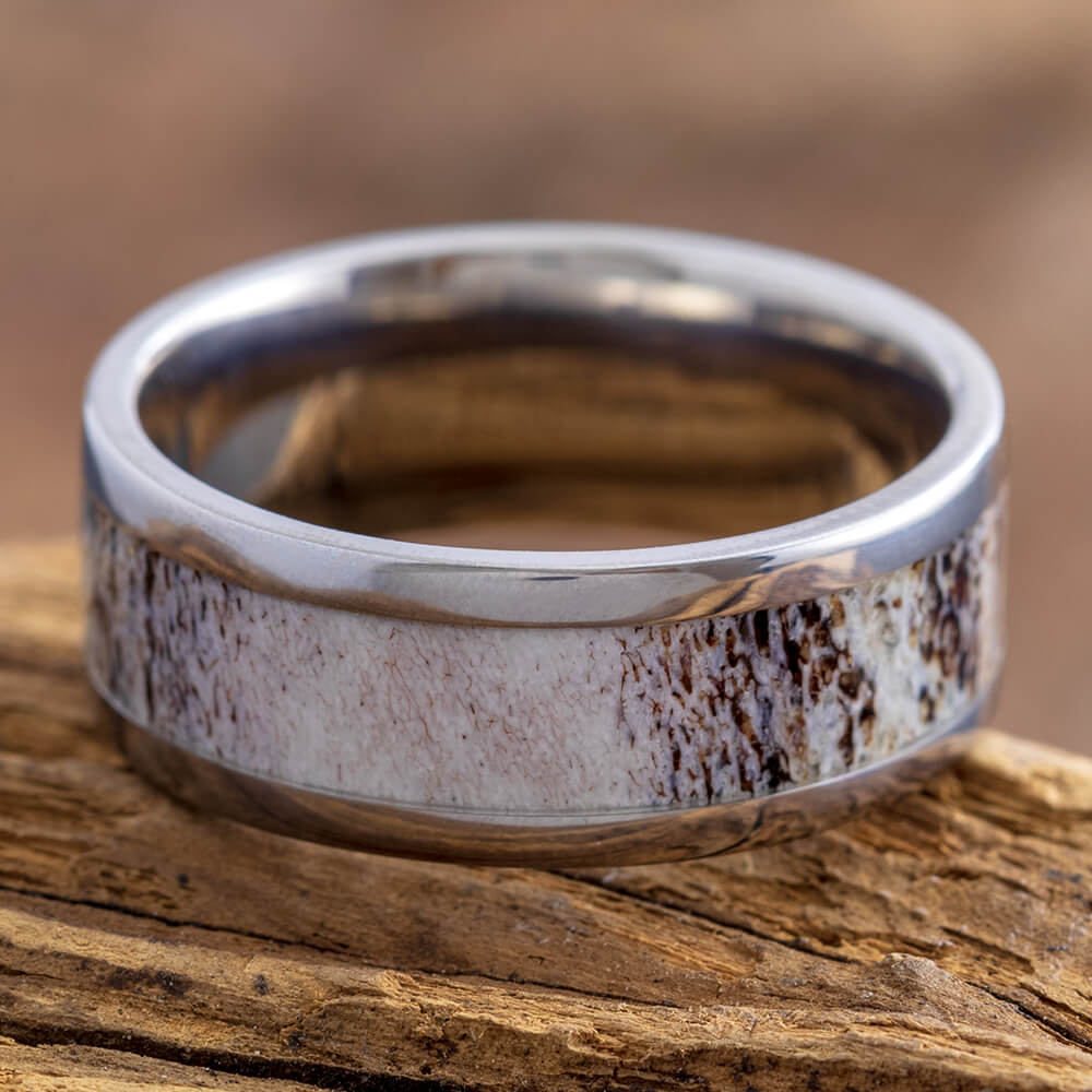 8mm Deer Antler & Titanium Ring, In Stock-SIG3008 - Jewelry by Johan