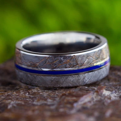 Blue Meteorite Ring With Fossil