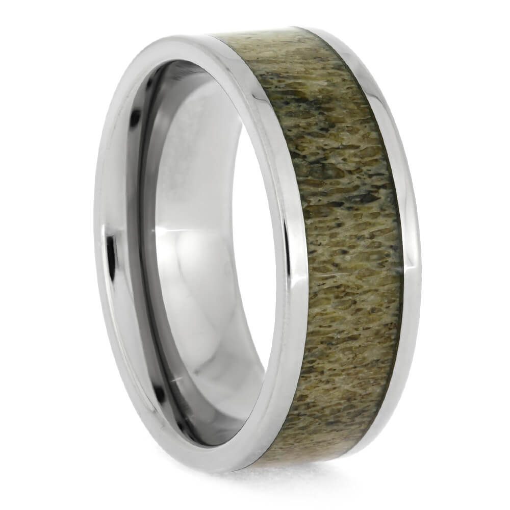 Deer Antler Ring In 8mm Titanium Band