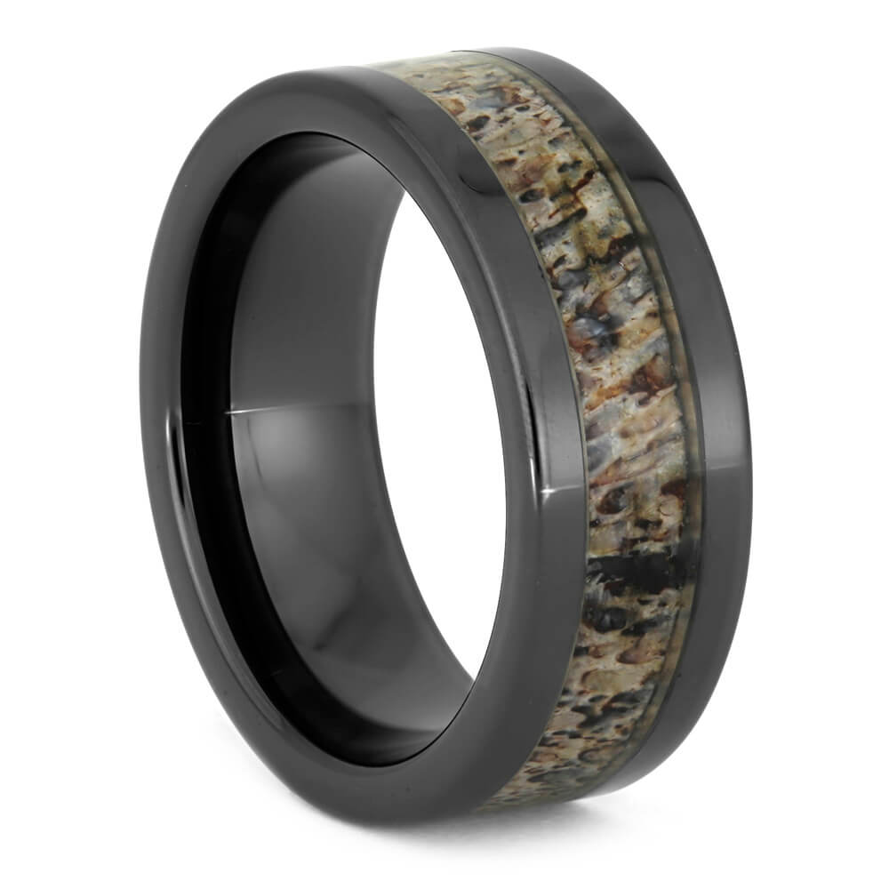Black Men's Wedding Band With Antler