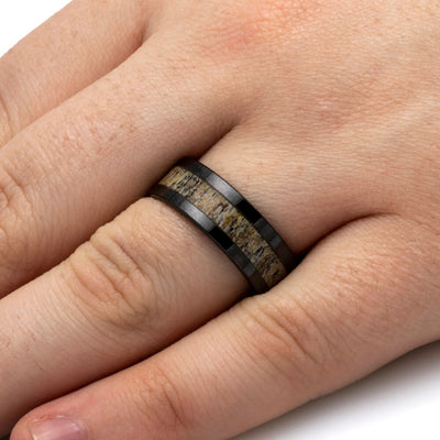 Deer Antler Ring In 8mm Ceramic Band, Ready to Ship-SIG3017 - Jewelry by Johan