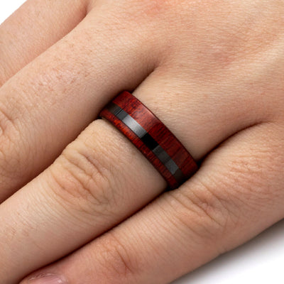 Black Ceramic Wood Wedding Band With Bloodwood-SIG3018 - Jewelry by Johan