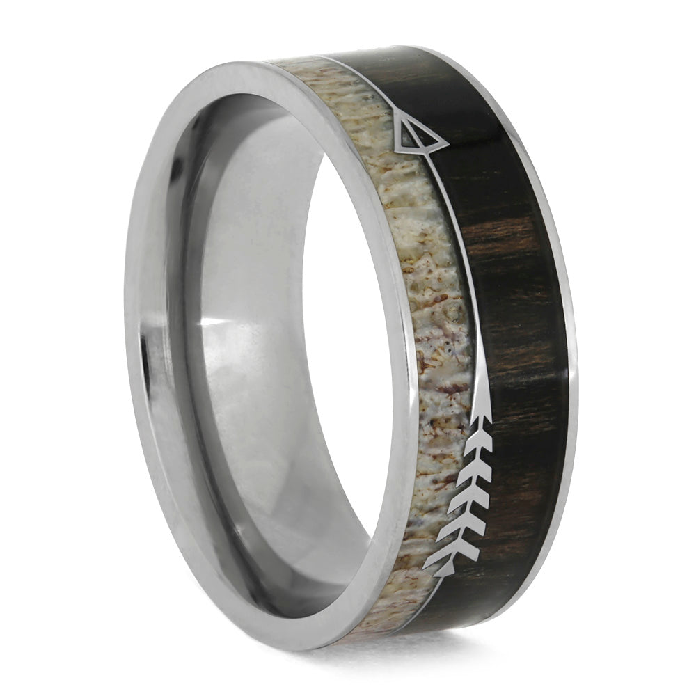 Deer Antler and Wood Ring With Silver Arrow