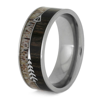Deer Antler Ring With Silver Arrow, Ironwood Wedding Band-SIG3020
