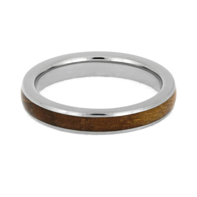 Whiskey Barrel Oak Ring, Handmade Titanium Wedding Band-SIG3023