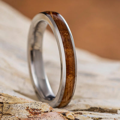 Whiskey Barrel Oak Ring, Handmade Titanium Wedding Band