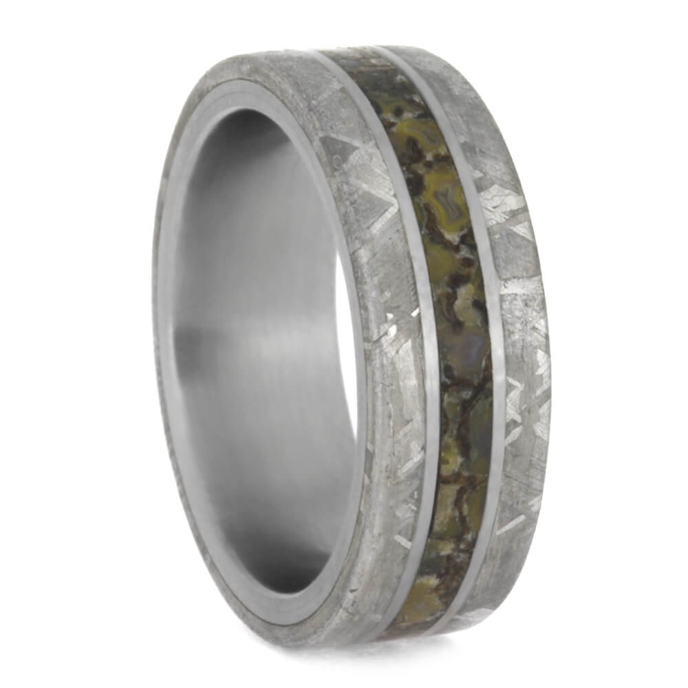 Mens Fossil Ring With Gibeon Meteorite Edges, Titanium Wedding Band