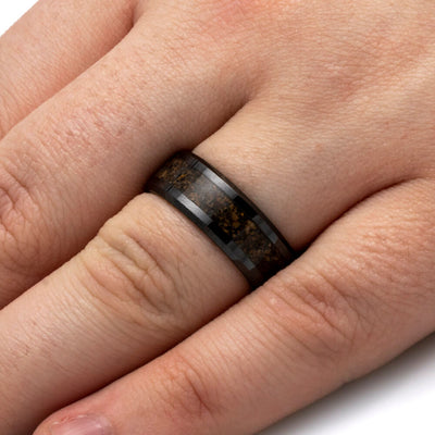 Fossil Wedding Band With Black Edges