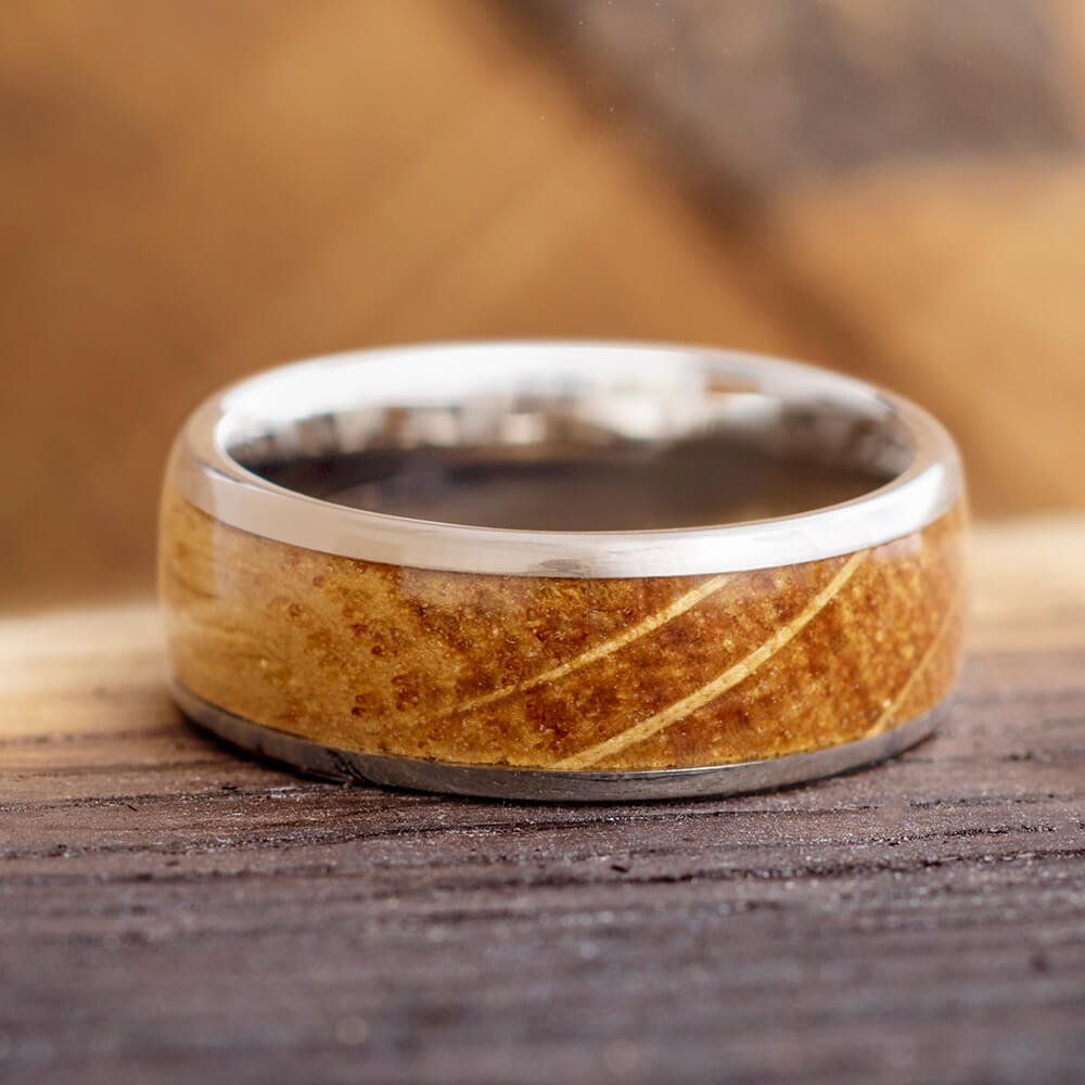 Whiskey Oak Wood Ring Men's Wedding Band, In Stock-SIG3029 - Jewelry by Johan