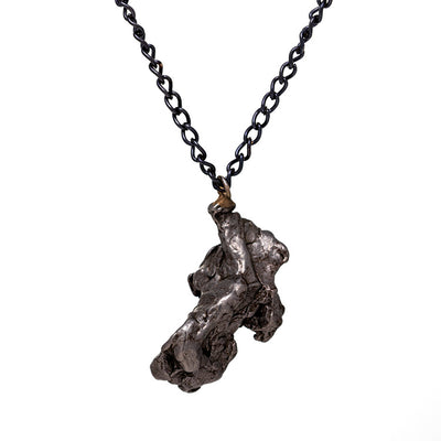 "30"" Campo Del Cielo Necklace With Black Chain, Meteorite Jewelry-SIG3041"
