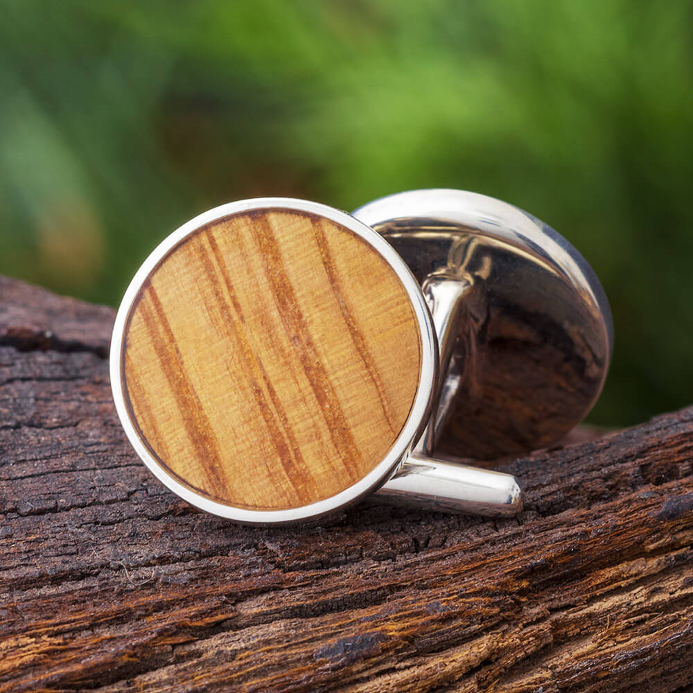 Whiskey Barrel Oak Wood Round Cuff Links, In Stock-SIG3044 - Jewelry by Johan