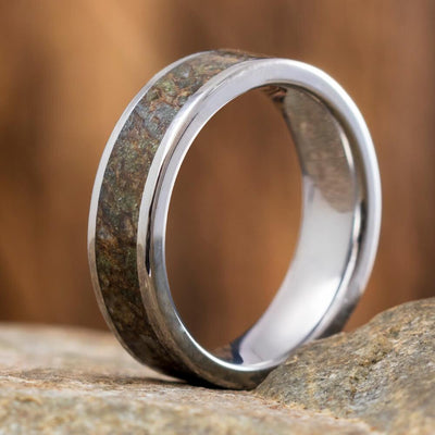 Solid Dinosaur Bone Men's Wedding Band In Titanium-2456 - Jewelry by Johan