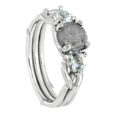 Meteorite Stone Engagement Ring with Moissanite Accent Stones