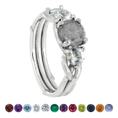 Meteorite Stone Engagement Ring with Accent Stones