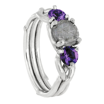 Meteorite Stone Engagement Ring with Amethyst Accent Stones