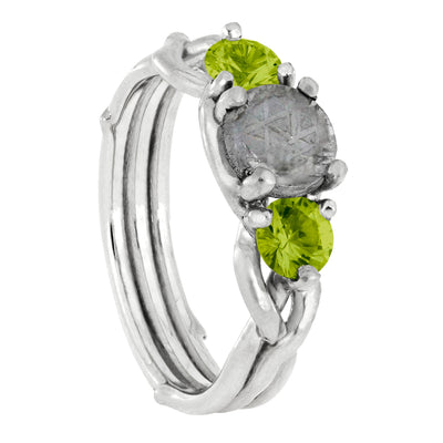Meteorite Stone Engagement Ring with Peridot Accent Stones