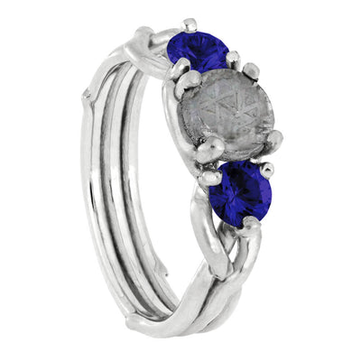 Meteorite Stone Engagement Ring with Blue Sapphire Accent Stones