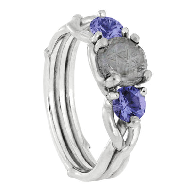 Meteorite Stone Engagement Ring with Tanzanite Stones