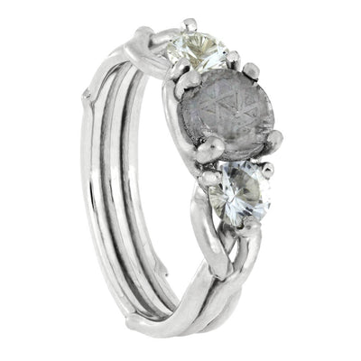 Meteorite Stone Engagement Ring with White Sapphire Accent Stones