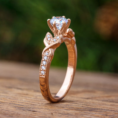 Rose Gold Engagement Ring with Moissanite